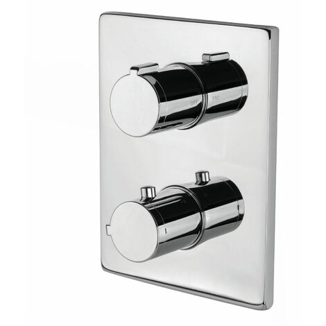 Signature Thermostatic Rectangle Plate Concealed Shower Valve Dual Handle - Chrome
