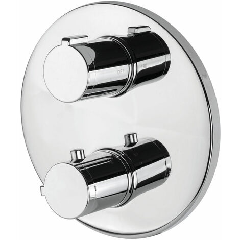 Signature Thermostatic Round Plate Concealed Shower Valve Dual Handle - Chrome