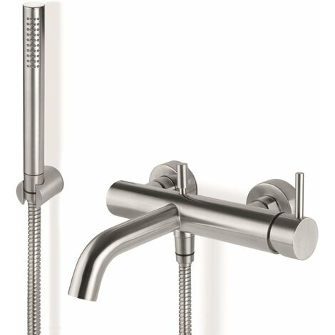 Signature Tiber Wall Mounted Bath Shower Mixer Tap with Shower Kit and Bracket - Stainless Steel