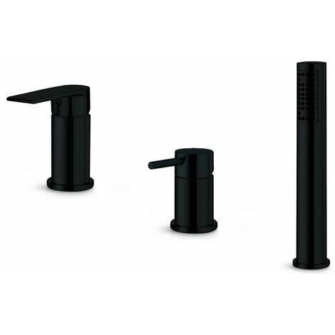 Signature Timea 3-Hole Bath Shower Mixer Tap Deck Mounted - Matt Black