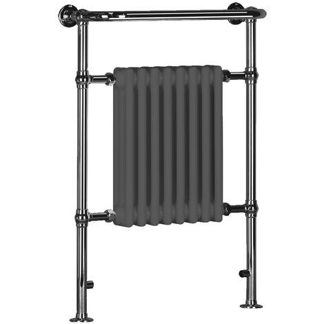 Signature Traditional Radiator Heated Towel Rail 963mm High x 673mm Wide - Grey/Chrome