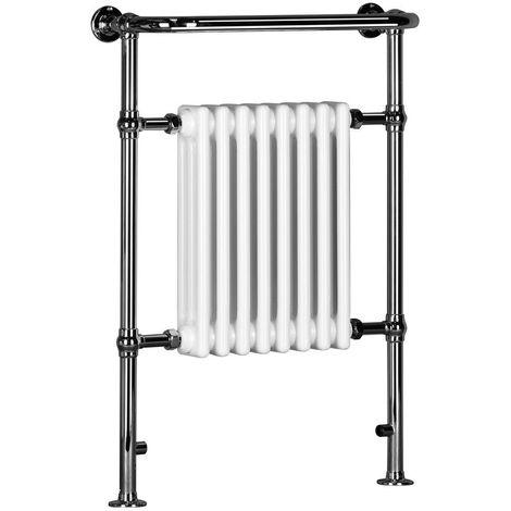 Signature Traditional Radiator Heated Towel Rail 963mm High x 673mm Wide - White/Chrome
