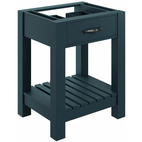 Signature Tronheim Floor Standing 1-Drawer Vanity Unit 600mm Wide - Matt Indigo Grey