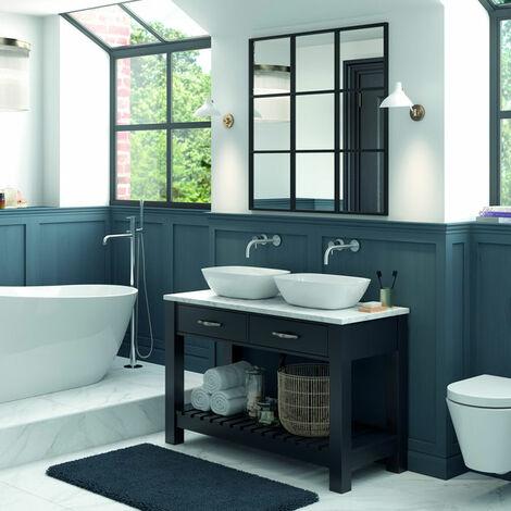 Signature Tronheim Floor Standing 2-Drawer Vanity Unit 1200mm Wide - Matt Indigo Grey