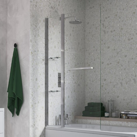 """main image of """"Signature Two Folding Bath Screen With Rail 1500mm High x 1000mm Wide - 6mm Glass"""""""