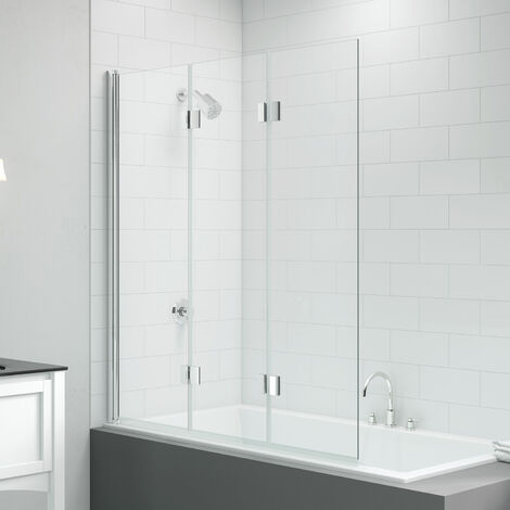 Signature Vibrance Three Panel Folding Hinged Bath Screen 1500mm High x 1400mm Wide - 8mm Glass