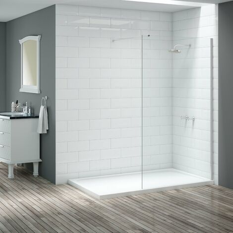 Signature Vibrance Wet Room Screen with Stabilising Bar 1200mm Wide - 8mm Glass