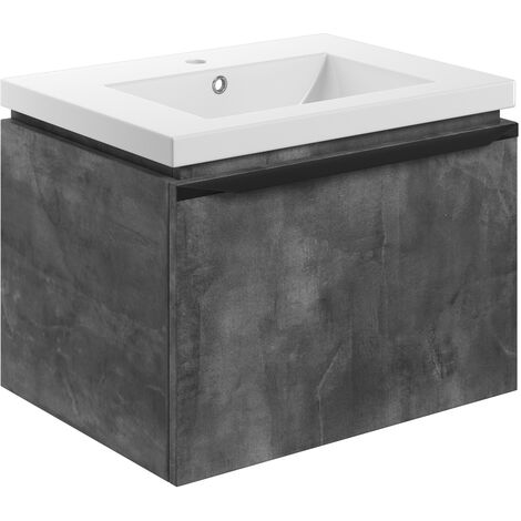 Signature Wall Hung 1-Drawer Vanity Unit with Basin 615mm Wide - Grey Metal