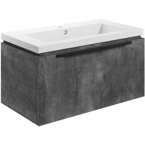 Signature Wall Hung 1-Drawer Vanity Unit with Basin 815mm Wide - Grey Metal
