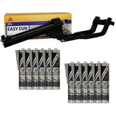 SIKA EasyGun putty gun pack - 12 hybrid putty adhesives SIKA Sikaflex 521 UV - Light grey - 300ml
