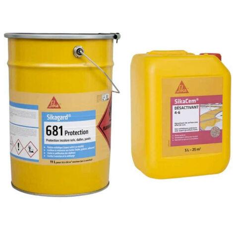 SIKA kit de hormigón desactivado 25m² - Desactivador 5L - Protección incolora del suelo 11L - Blanc
