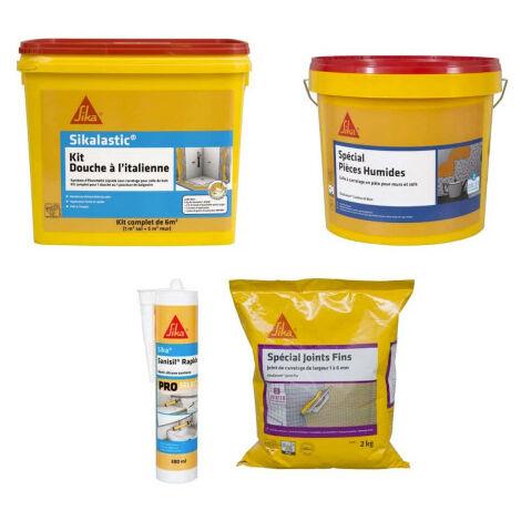 SIKA Kit ducha italiana - SikaCeram adhesivo 15kg - SikaCeram mortero 2kg - Sanisil masilla 300ml - Blanc