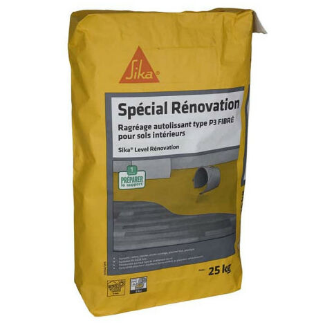 SIKA Level Rénovation self-levelling fibrous levelling compound - For new and renovation indoor floors 25 Kg