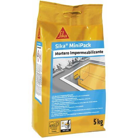 """main image of """"Sika MiniPack Mortero Impermeabilizante, para la impermeabilizacion de sotanos, cimentaciones y muros enterrados, Gris, 5 kg"""""""