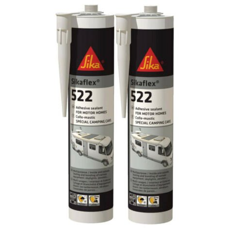 SIKA Sikaflex 522 Caravan - Blanco - 300ml - Set de 2 adhesivos de masilla SIKA - Blanc