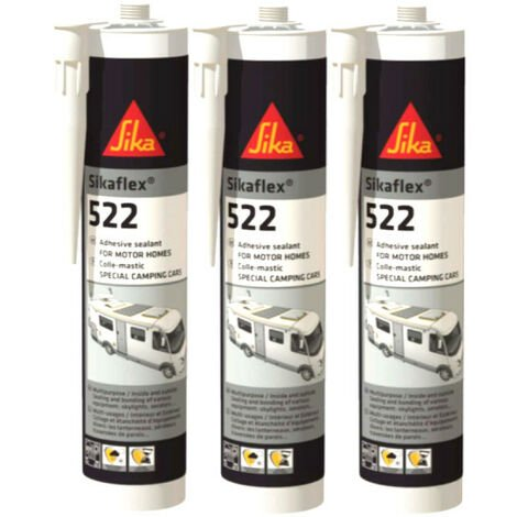 SIKA Sikaflex 522 Caravan - Blanco - 300ml - Set de 3 adhesivos de masilla Sikaflex - Blanc