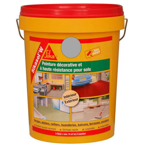 SIKA Sikasol W single-component floor paint - Concrete gray - 5L