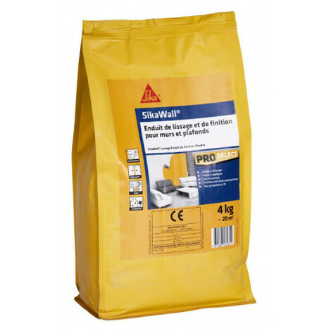 SIKA SikaWall Smoothing and Finishing Coat For walls and ceilings - 4Kg - Blanc