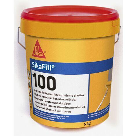 "main image of ""SikaFill-100, Revestimiento elastico para impermeabilizacion de cubierta, Rojo teja, 5kg"""