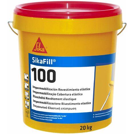 SikaFill 100, Revestimiento elastico para impermeabilizacion de cubiertas, Blanco, 20kg