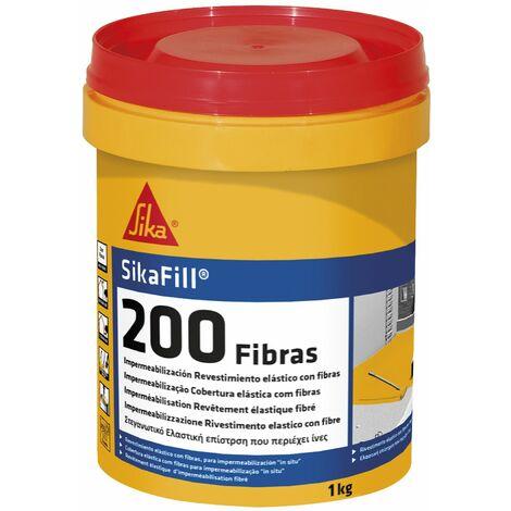 SikaFill 200 Fibras, Pintura acrylica para impermeabilizacion, 1 Kg, Gris