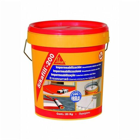 Sikafill-200 fibras, Pintura elastica con fibras para impermeabilizacion, Gris, 5kg