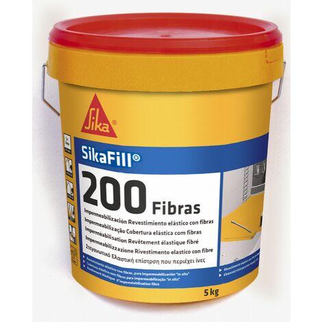 Sikafill-200 fibras, Pintura elastica con fibras para impermeabilizacion, Teja, 5kg