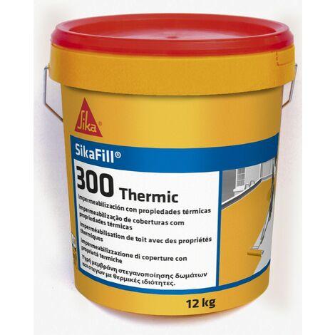 SikaFill 300 Thermic, Revestimiento elastico para impermeabilizacion con propiedades termicas, 12kg, Blanco