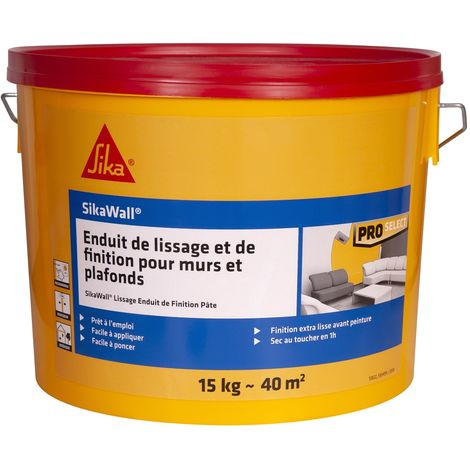 Sikawall Lissage Enduit de Finition pâte 15kg Blanc | Couleur: Blanc