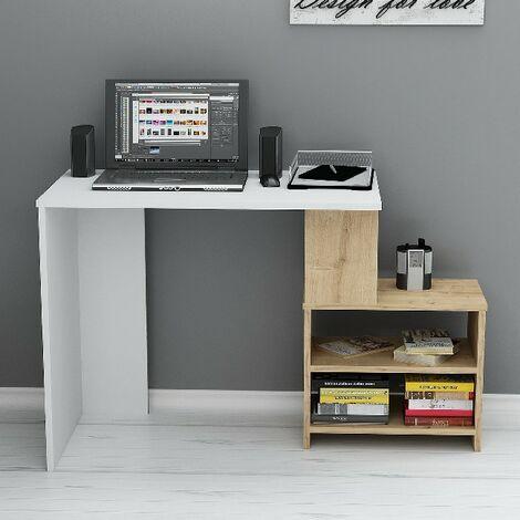 Sila Escritorio con estantes - de la sala de estar, dormitorio, estudio, oficina - Blanco, Roble en Madera, 120,5 x 50 x 75 cm