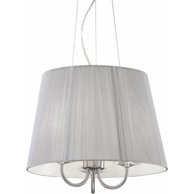 01-ideal Lux - Silber Pendelleuchte PARIS 3 Glühbirnen