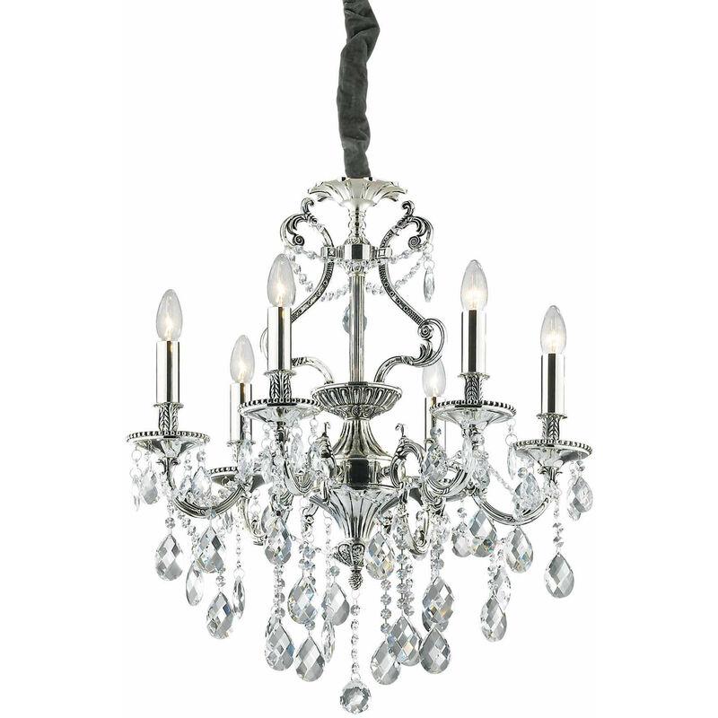 01-ideal Lux - Silberne Pendelleuchte aus GIOCONDA Kristall 6 Glühbirnen