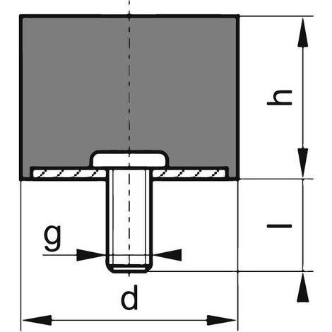 Silent bloc caoutchouc D100 x 100mm M12x37