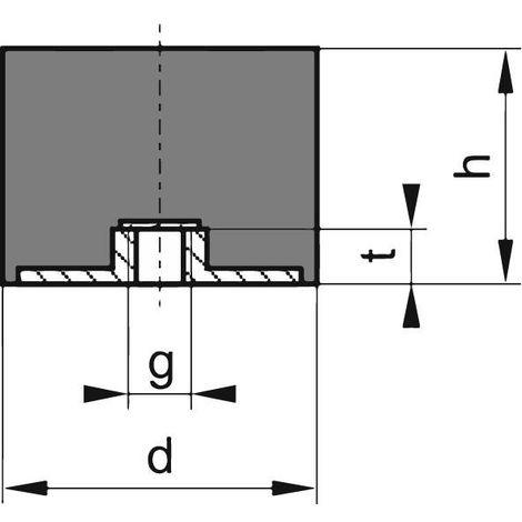 Silent bloc caoutchouc E100x100mm M12
