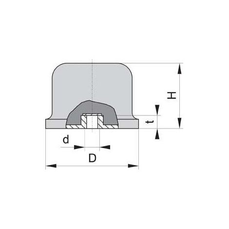 Caoutchouc-Métal-Tampon aus.b25 x 25 mm m6x18