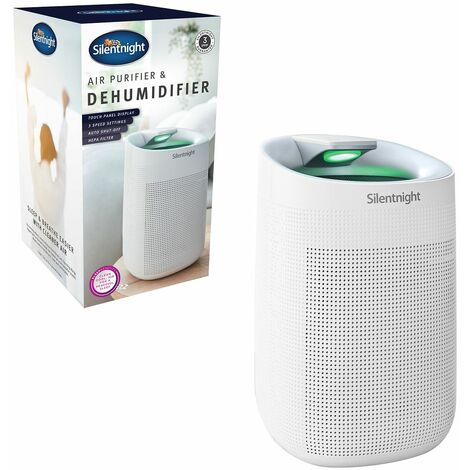 Silentnight 48849 2 in 1 Air Purifier and Dehumidifier / 2 HEPA Filters Included / 3 Speeds/Touch Screen Display, Plastic, 45 W, White