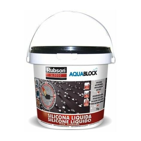 Silicona Liquida Elastica100% 1 Kg Neg Impermeable Aquablock Rubson