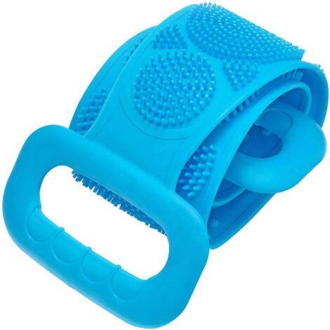 Silicone bain corps brosse dos laveur serviette de douche sangle exfoliante longue poignée ceinture de récurage bleu