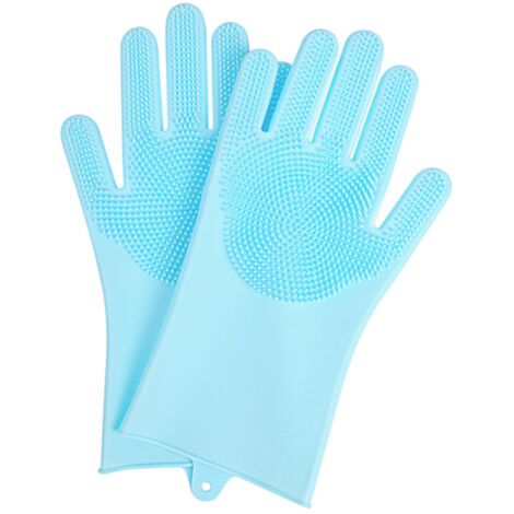 """main image of """"Silicone Bath Gloves for Company Dogs Floating Cat Floating Massage Gloves Blue Pet Cleaning Supplies"""""""