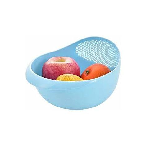 "main image of ""Silicone Colander Rice Drain Basket Bowl Fruit Washing Bowl Drain Basket with Handle Washing Bank Home Kitchen Organizer (Color: Blue)"""