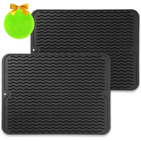 Silicone Drying Mat, Set of 2 Drip Mat - Anti-Bacterial Dish Drip Mat, Heat Resistant Quick Dry Dish Drainer for Kitchen, 40 x 30 CM