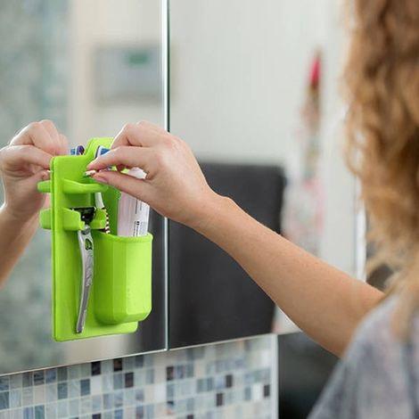Silicone Porte-brosse à dents Salle vert de bain Organisateur Rangement Mighty Dentifrice Rasoir