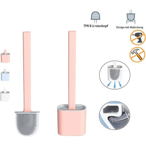 Silicone toilet brush, bathroom toilet brush with quick-drying holder, can be placed or hung (phophore)