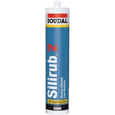 Silirub 2 Mastic silicone neutre 310-ml, gric ciment SOUDAL (Par 15)