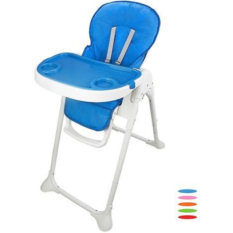 Silla Alta de Bebé, Silla Alta de Bebé Plegable, Azul, Tamaño desplegada: 105 x 89 x 56 cm
