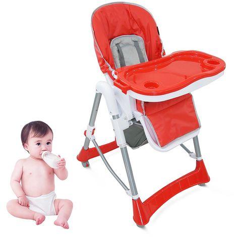 Silla Alta de Bebé, Silla Alta de Bebé Plegable, Rojo, Tamaño desplegada: 105 x 75 x 60 cm