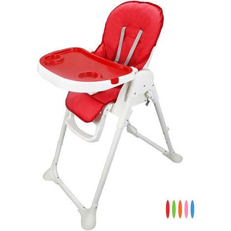 Silla Alta de Bebé, Silla Alta de Bebé Plegable, Rojo, Tamaño desplegada: 105 x 89 x 56 cm