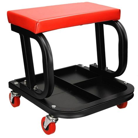 Silla asiento de taller con bandeja taburete mecánico giratorio movil 4 ruedas