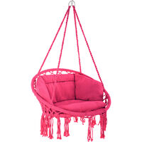 Silla colgante Grazia - columpio de cesta con cojín, asiento colgante con estructura de acero, silla colgante para jardín con trenzado de algodón