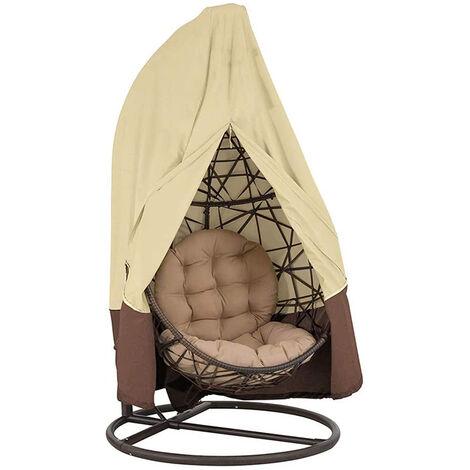 Silla colgante huevo impermeable terraza cubierta de la silla a prueba de polvo impermeable al aire libre para jardin Silla del patio, Beige